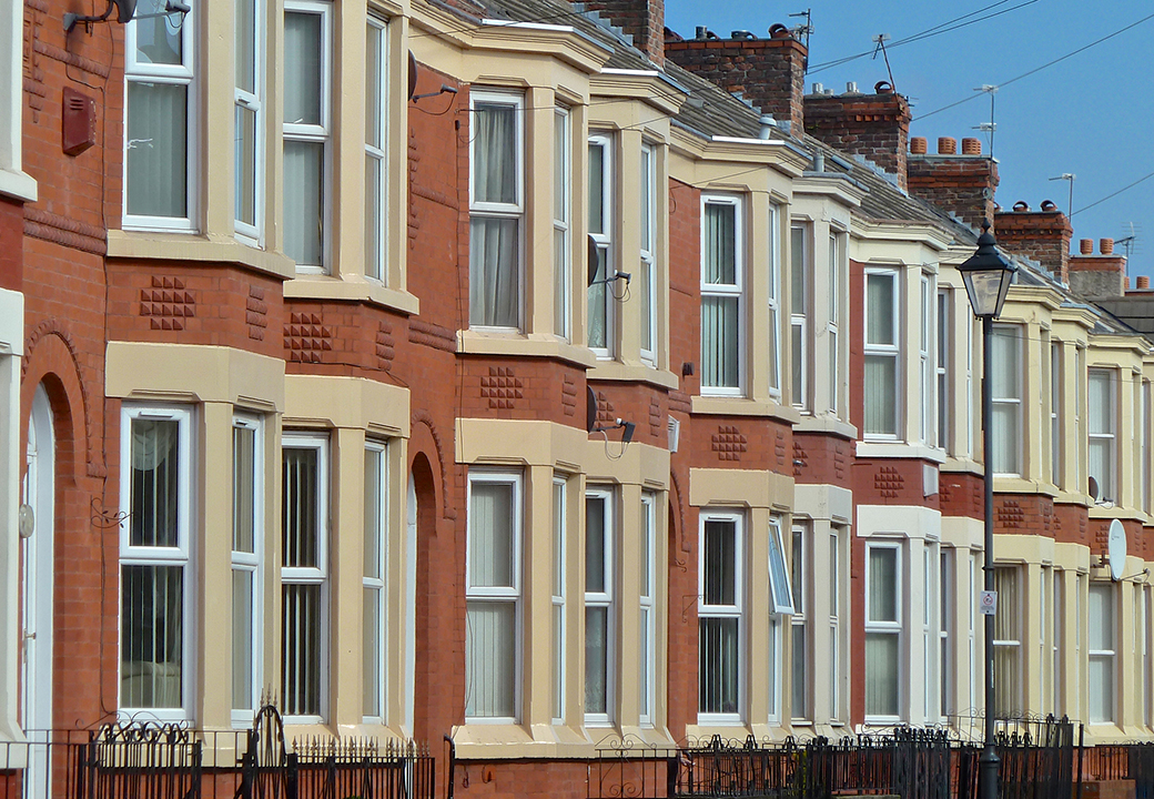 Row of Victorian terrace houses